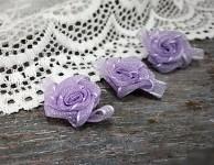 Šifonová růžička s lístečky - sv.fialová - 1ks