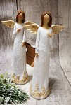 Víla mini vintage krémová - s květinovým lemem - 13,5cm