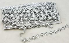Ozdobný pás stříbrný - kytičky -1m