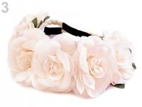Pružná čelenka do vlasů s růžičkami - pudrově růžová