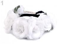 Pružná čelenka do vlasů s růžičkami - bílá