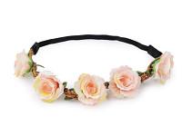 Pružná čelenka do vlasů s lučními květy - sv.růžová