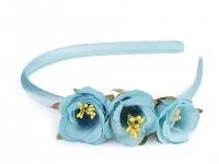 Čelenka do vlasů saténová s modrými květy