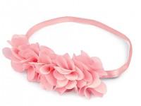 Pružná čelenka do vlasů s kvítky - pudrově růžová