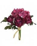 Kytička hortenzií a kamélií - tm.růžová
