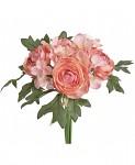 Kytička hortenzií a kamélií - korálově růžová