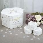Svatební ekokonfety -  stříbrná a bílá srdíčka