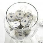 Svatební bonbon roksový - stříbrné Just Married  - 1ks