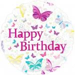 Foliový balonek Happy Birthday - motýlci