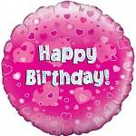 Foliový balonek Happy Birthday - růžová srdíčka