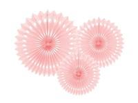 Rozety závěsné - pudrově růžové děrované - 3ks