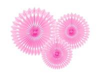Rozety závěsné - sv. růžové děrované - 3ks