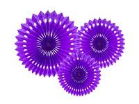 Rozety závěsné - tm.fialové děrované - 3ks