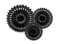 Rozety závěsné - černé děrované - 3ks