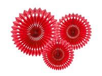 Rozety závěsné - červené děrované - 3ks