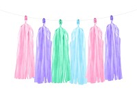 Girlanda papírová - třásně - pastel mix