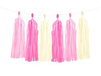 Girlanda papírová - třásně - růžovo-bílé