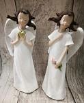 Anděl snící - bílý glitter 16cm