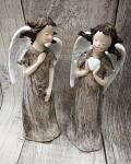 Anděl snící - hnědo-stříbrný 16cm