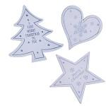 Dřevená lepítka - stromek, hvězda, srdce - bílo-stříbrná