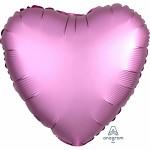 Foliový balonek saténový lesk - srdce lila