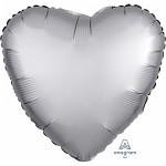 Foliový balonek satén - srdce stříbrné