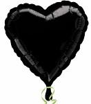 Foliový balonek - srdce černé - 43 cm