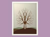 Svatební strom barevný - postavy - bílý rám - 44 x 54 cm