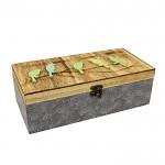 Dřevěná krabička HOME s ptáčky - velká