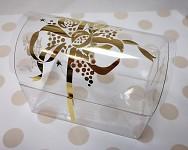 Truhlička dárková na pralinku průhledná - zlatý dekor