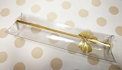 Plastová krabička podélná na mandle průhledná - zlatý dekor