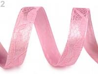Dekorační stuha s krajkou růžová 13 mm - 1m