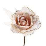 Růže s krajkou glitter - krémovozlatá