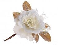 Růže s krajkou glitter - krémovostříbrná