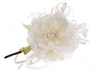 Růže s krajkou na klipu - krémová