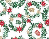 Balicí vánoční papír - 70cm x 2m - červený se stromky