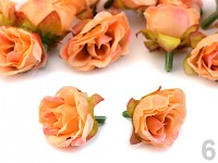 Textilní růžičky - lososovorůžové - 10 ks