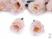 Textilní růžičky - sv.lososové - 5 ks