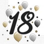 Ubrousky zlatobílé s balónky - 18. narozeniny