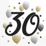 Ubrousky zlatobílé s balónky - 30. narozeniny