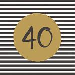 Ubrousky zlatobílé s balónky - 40. narozeniny