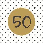 Ubrousky zlatobílé balónky - 50. narozeniny
