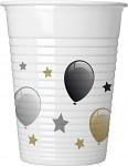 Plastové kelímky zlatobílé s balónky - 8 ks