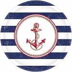 Papírové talířky námořnické - kormidlo - 8 ks