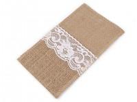 Kapsa na příbory - jutová s krémovou bavlněnou krajkou