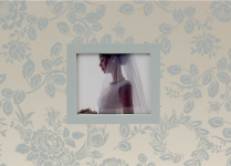 Svatební fotoalbum krémové se stříbrnými květy - 22x16 cm