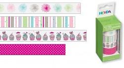 Lepicí pásky dekorační - sv.růžový mix a muffiny
