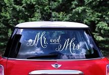 Nálepka na auto - Mr., Mrs.