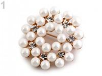 Spona (brož) perlová -bílá
