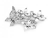 Spona (brož) perlová -stříbrná